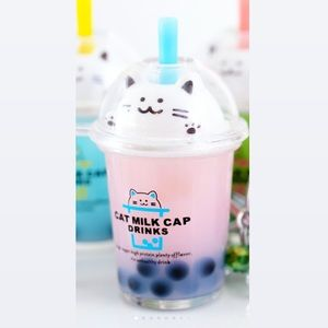 Large kitty boba real liquid keychain